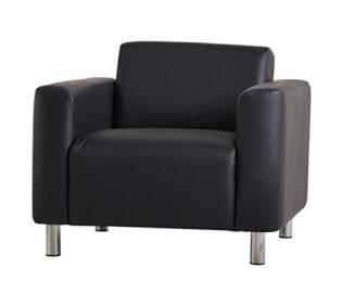 Black Sleek Modern Cosy Armchair - High Quality Faux Leather Upholstery - Stainless Steel Legs - A Cosy Addition To Any Room