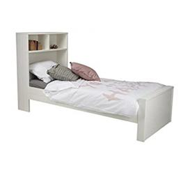 lounge-zone Day Bed Teen bed Kid's bed Bed MAXI with Shelf rack, Wood Pine, white, 90 x 200 cm WITHOUT Bed box 14106