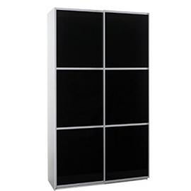FTG 120Cm Sliding Glass Doors Modern Wardrobe Black
