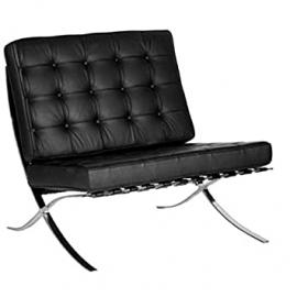 Contemporary Oversized Leather Faced Reception Chair - Classic Button Design Black