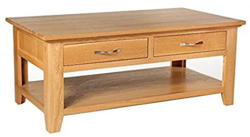 Camberley Oak 4 Drawer Large Coffee Table with Light Oak Finish | Solid Wooden Rectangular Shaped Lounge Storage