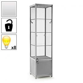 Premium Glass Display Cabinet - Storage - 8 Lights - 500mm Wide - Commercial Grade