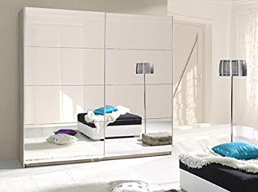 Brand New Modern Bedroom Sliding Full Mirror Wardrobe TWISTER 255cm in White sold by Arthauss