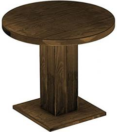 Brasil Rio Uno Furniture Dining Table, Solid Pine Wood Oiled and Waxed Antique Oak Cognac 90 cm rund/78 cm High