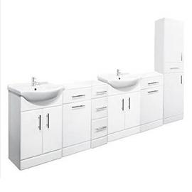 2600mm Double Bathroom Set 650 Vanity Unit Tallboy Unit