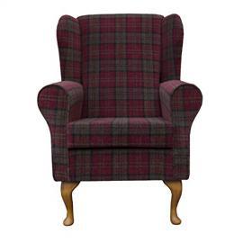 Small Westoe Wingback Armchair in a Red & Green Lana tartan Fabric with Hardwood Legs