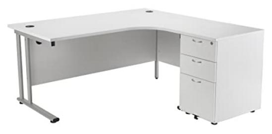White Right Hand Crescent Office Desk with Desk High Pedestal, Home Office Desk with 3 Drawer Desk High Pedestal - Office Desk From the Smart Office Furniture Range