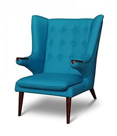 Large chic Wing Chair Tv Chair Armchair Lounge armchair. Illustration in Petrol colored / Turquoise with Walnut Wood