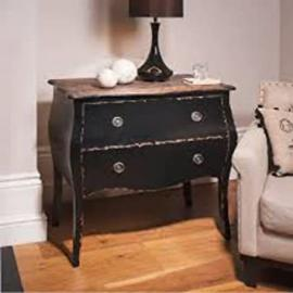Elegant Curved 2 drawers Chest Black Bombe
