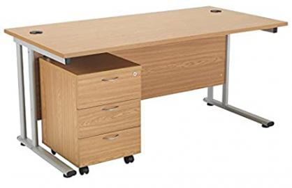 Smart Office Furniture Range - Rectangular Desk 1400mm and 3 Drawer Pedestal in an Oak Finish, Desk with Drawers in Oak from Relax Office Furniture