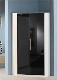Berlin 2 Door Corner Wardrobe Black Gloss and Alpine White- UK ONLY