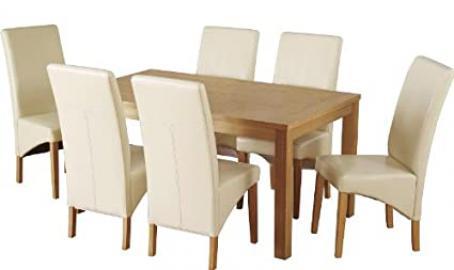 Belgravia Dining Set Natural Oak Veneer 6 Cream Padded Faux Leather Chairs