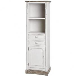 ANTIQUE WHITE TALL DISPLAY CABINET UNIT SHABBY CHIC HAMPTON (H13400) ** FULL RANGE OF MATCHING FURNITURE IS AVAILABLE **