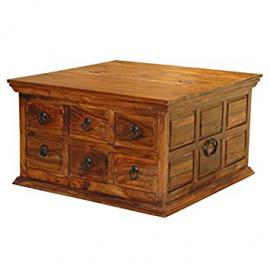 SOLID SHEESHAM WOOD 6 DRAWER SQUARE COFFEE TABLE TRUNK