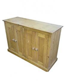 Wye Pine Traditional 4 Door Sideboard - Finish: Wax - Stain: Waterbased