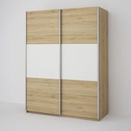 Seattle 2 Door Oak Sliding Wardrobe - Oak & White 150CM Wide Bedroom Furniture Storage Solutions W 150cm x D 60cm x H 195cm