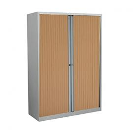 Bisley ET410/13/3S.BC 133 cm Euro Tambour Beech Shutter with 2 Shelves - Silver
