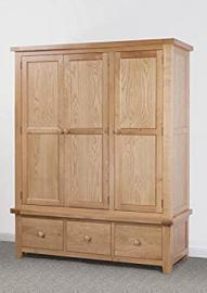 Devon Solid Oak Triple Wardrobe with 3 Drawers / Part Assembled Double Doors, 1 Single Door and 3 Drawer Triple Wardrobe / Bedroom Furniture / Living Room Furniture / Home Furniture
