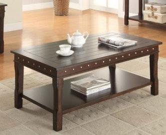 Cottage Style Coffee Table with Lower Shelf by Poundex