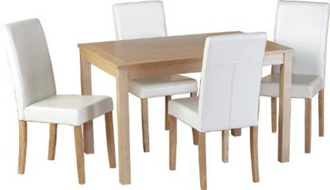 Seconique Oakmere Dining Set with 4 G3 Cream Chairs - Natural Oak Veneer/Cream Faux Leather