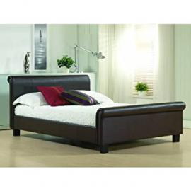 Time Living Aurora 5ft King Size Brown Faux Leather Bed Bed Frame Only