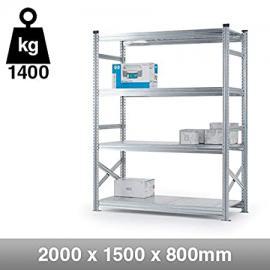 4 Tier Heavy Duty Metal Shelving Rack - 2000mm x 1500mm x 800mm
