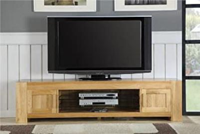 Milton solid oak living room furniture large plasma tv stand cabinet
