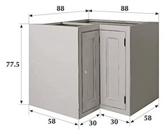 Kitchen Units Kitchen Base Unit 880mm 2 Door Corner with Shelf and Tongue and Groove Backboards Solid Wood VL5085