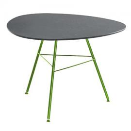 Leaf Coffee Table Triangular H50 grey/frame green matt/lacquered/Top MDF waterproof/H x Ø: 50 x 79cm