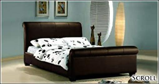 NEW 5ft BROWN GENUINE REAL LEATHER SLEIGH KINGSIZE SCROLL BED AND SLUMBER SLEEP ORTHOPAEDIC ORTHO MATTRESS