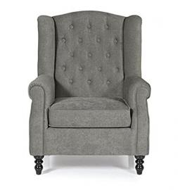 Deluxe Classic Armchair - Upholstered In Soft Fabric With A Deep Button Effect - Available In 3 Gorgeous Colours (Grey)