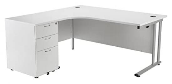 White Left Hand Crescent Office Desk with Desk High Pedestal, Home Office Desk with 3 Drawer Desk High Pedestal - Office Desk From the Smart Office Furniture Range