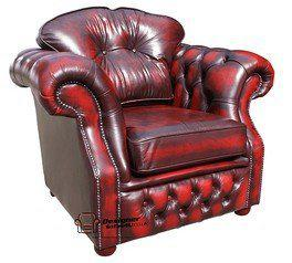 Chesterfield Era High Back Leather Armchair Antique Oxblood