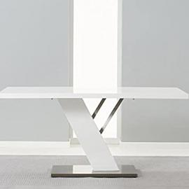 Portland 160Cm Brushed Metal White High Gloss Dining Table