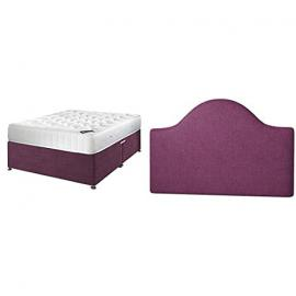 Happy Beds Neptune Traditional Spring Mattress & Divan with the Victor Plain Headboard, Purple Cotton, 5 ft, King Size