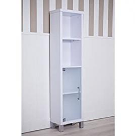 1 Door 3 Shelf Bathroom Cabinet - Available In 2 Beautiful Finish - Translucent Glass Door - Adjustable Inner Shelf (White)