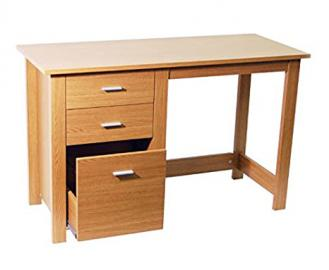Oak 3 Drawer Computer Desk - Crafted From High Quality MDF And Particle Board - Perfect For Home Office Desk - Spacious Surface
