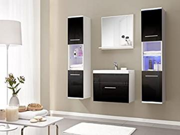 Dill-Black High Gloss Bathroom Furniture Set with Bathroom Sink Basin Badste LED