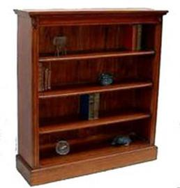 Solid Mahogany Low Wide 3 Shelf Bookcase