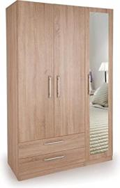 Holborn 3 Door 2 Drawer Mirrored Triple Wardrobe Storage Oak | Bedroom Furniture