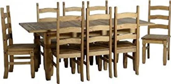 Corona Extending Dining Set (1+8) in Distressed Waxed Pine