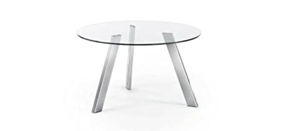 The Form-COLUMBIA Table 130 Chrome with Clear Glass