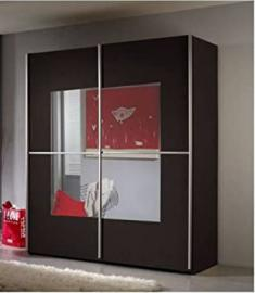 Extra Wide Alabama 2 Sliding Door Wardrobe Wenge Dark Brown - UK ONLY
