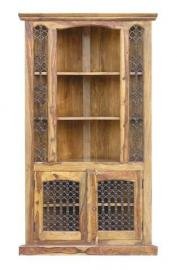 Jali Tall Corner Cabinet - Handmade from 100% Real Sheesham Wood - Indian Rosewood