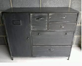 Shabby Vintage Industrial Black Sideboard Cabinet & Retro Storage Drawers - Perfect Storage Unit for any Hallway, Bedroom, Living Room, Dining Rooms or Bathroom