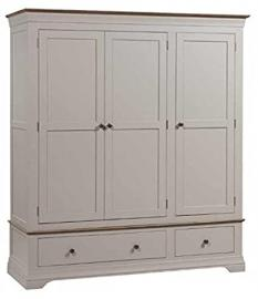 Montpelier Smoked Oak Top Solid Wood 3 Door Wardrobe / Fully Assembled Solid Wood Triple Hanging Wardrobe / Bedroom Furniture