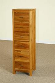 6 drawer solid teak hardwood tallboy storage chest 125cm x 37cm x 32cm