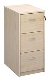 Deluxe 3 Drawer Wood Filing Cabinet in Beech, Maple, Oak, White or Walnut Finish. Foolscap Filing, Office Storage from the Relax Office Furniture Range (Maple)