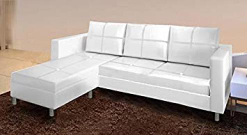 PU Sofa Living Room Corner White Reversible