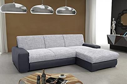 Corner sofa Spring HANOVER R white-grey/black Woven fabric